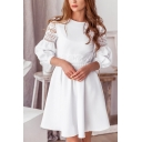 Glamorous Girls Solid Color Hollow out Lace Patched 3/4 Sleeves Round Neck Short Pleated A-line Dress