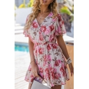 Fancy Allover Flower Printed Short Sleeve Surplice Neck Ruffled Trim Short Pleated A-line Dress in White