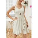 Popular Womens V-neck Cut out Ruffled Trim Short Pleated A-line Tank Dress in Apricot