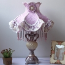 1-Light Ruffle Dress Table Lighting Pastoral Purple Fabric Nightstand Lamp with Draping