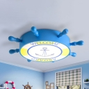 Creative Rudder Acrylic Ceiling Lamp LED Flush Mount Light in Blue/Yellow with Anchor Pattern