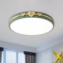 Round Acrylic Ceiling Flush Mount Nordic White/Black/Grey Finish LED Flushmount Lighting with Loving Heart Deco