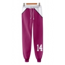 Creative Boys Number 14 3D Cosplay Print Contrasted Drawstring Waist Cuffed Ankle Length Relaxed Sweatpants in Purple