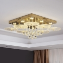 Ribbed Crystal Gold Ceiling Light Round LED Simplicity Flush Mount in White Light