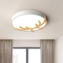 Nordic Antler and Circle Ceiling Lighting Iron Hotel LED Flush-Mount Light Fixture in White/Grey/Green