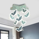 Blue/Pink Butterfly Semi Flush Cartoon LED Metal Flush Mount Light Fixture with Star Shape Canopy