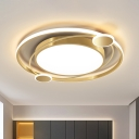 Gold Planet Ceiling Flush Mount Contemporary LED Acrylic Flushmount Lighting in Warm/White Light for Bedroom