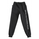 Letter Break The Fucking Rules Print Drawstring Waist Ankle Cuffed Carrot-fit Casual Sweatpants for Men