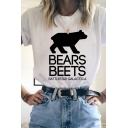 Chic Girls Letter Bears Beets Bear Graphic Rolled Short Sleevce Crew Neck Regular Fitted T-Shirt in White