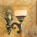 1/2 Lights Carved Bell Wall Sconce Traditional Brass Finish White Glass Wall Mount Light