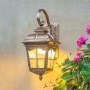 1 Light Ripple Glass Wall Lighting Rustic Bronze Lantern Outdoor Wall Sconce Light