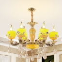 Yellow Glass Pot Chandelier Pendant Traditional 6/8 Lights Dining Hall Ceiling Hanging Light in Gold