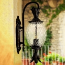1-Bulb Pineapple Surface Wall Sconce Cottage Black Finish Clear Prismatic Glass Wall Light Fixture