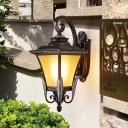 Lantern Outdoor Wall Lighting Ideas Country Yellow Glass 1 Light Black Sconce Light