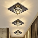 Black LED Ceiling Lighting Simplicity Clear Crystal Block Diamond Flush Light with Square Canopy