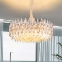 6-Bulb Halo Hanging Chandelier Modern Gold Crystal Prism Pendant Light Fixture for Living Room