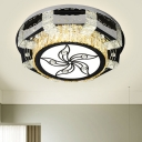 Beveled K9 Crystal Nickel Flushmount Round LED Minimalism Flush Mount Light with Flower/Clover Pattern