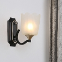 Scalloped Frosted White Glass Wall Light Fixture Retro 1/2 Lights Bedroom Wall Mounted Lamp