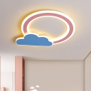 Full Moon Above Cloud Thin Flush Light Kids Acrylic Nursery School LED Ceiling Mount Lamp in Blue/Pink