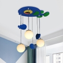 Blue Finish Fish Multi Ceiling Light Cartoon 3-Head Wood Pendulum Lamp with Sphere Cream Glass Shade
