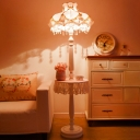 Lace Trim Night Table Light Nordic Fabric 1 Bulb Pink Nightstand Lamp with Bead Decoration
