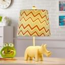 Resin Animals Night Night Lamp Kids 1 Light Nightstand Light with Fabric Shade in Pink/Yellow/Peacock Blue
