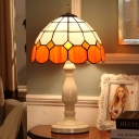 1-Head Grid Dome Night Table Light Baroque Style Orange Stained Glass Desk Lamp for Bedside