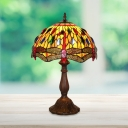 Dragonfly Nightstand Lamp 1-Bulb Stained Art Glass Mediterranean Desk Light with Jeweled Pattern