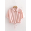 Popular Single Floral Printed Short Sleeve Point Collar Button up Drawstring Hem Relaxed Cropped Polo Shirt in Pink
