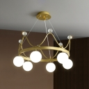 Modern Crown Chandelier Lamp White Glass 6 Heads Bedroom Hanging Light with Crystal Ball in Pink/Gold