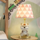 Conical Table Light Cartoon Fabric 1 Bulb Bedroom Nightstand Lamp in Pink/Blue with Resin Tiger Decor