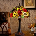 1-Bulb Flower and Grape Night Lamp Mediterranean Bronze Stained Art Glass Nightstand Light