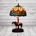Coffee Floral Patterned Nightstand Lighting Victorian 1-Head Stained Art Glass Horse Table Lamp with Domed Shade