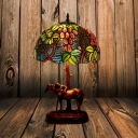 1 Light Table Lamp Tiffany Style Horse Base Resin Night Lighting in Coffee with Grape Pattern