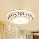 Latticework Bowl Dining Room Flush Mount Retro Crystal Blue and Gold LED Ceiling Light