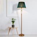 1 Head Pleated Fabric Floor Lamp Retro Green Empire Shade Sitting Room Standing Light