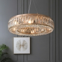 K9 Crystal Embedded Circle Chandelier Simple Stylish 6-Light Dining Table Hanging Light Kit in Gold