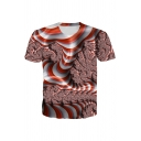3D Abstract Printed Short Sleeve Crew Neck Slim Fitted Unique T Shirt in Red