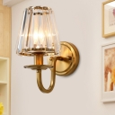 Post-Modern Cone Shade Wall Light 1-Bulb Crystal Sconce Lighting Fixture in Gold