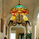 Tiffany Dome Hanging Chandelier 5 Lights Cut Glass Suspension Lighting in Yellow with Parrot Deco