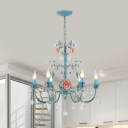 Iron Blue Chandelier Lighting Candlestick 3/6-Bulb Korean Flower Pendant with Crystal Draping