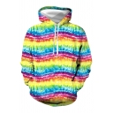 Fancy Yellow Tie Dye Printed Long Sleeve Drawstring Pouch Pocket Relaxed Fit Hoodie for Guys
