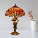 Dome Shaped Nightstand Light Baroque Stained Art Glass 3-Light Yellow/Orange/Blue Dragonfly Patterned Table Lamp with Pull Chain