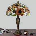 Cut Glass Red/Orange Night Lamp Bowl Shaped 2-Light Victorian Pull Chain Nightstand Lighting with Floral Patterned