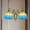 2 Bulbs Wall Mount Light Fixture Mediterranean Bell Dark Blue-White/Orange-White/Sky Blue-White Glass Sconce with Mermaid Backplate