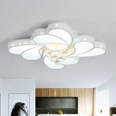 White Heart Shaped Spiral Flush Mount Modern Acrylic Living Room LED Ceiling Lamp with Mesh Side and Crystal Drop