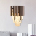 2-Light K9 Crystal Prism Wall Lamp Contemporary Coffee Taper Bedside Flush Mount Wall Sconce