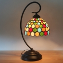 Cut Glass Dome Night Table Light Victorian 1-Bulb Dark Coffee Desk Lighting with Dotted Pattern