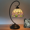 Stained Art Glass Pink/Blue Desk Lamp Dome Shade 1-Head Victorian Bloom Patterned Table Light with Dark Coffee Swirl Arm