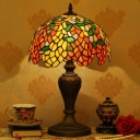 Bronze 1 Head Night Lamp Tiffany Orange-Yellow Cut Glass Wisteria Table Lighting for Bedroom